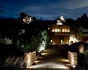 66 Watt High-Power LED Flood Light Fixture: Shown Illuminating Background Rocks.