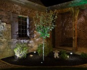 921 LED Bulb - 3 SMD LED Wedge Base Ceramic Tower: Shown Installed In Landscape Path Light In Warm White.