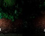 LED Landscape Path Lights - Dual Tier - 2 Watt - Aluminum Housing: Showing 4 Watt Vs. 2 Watt In Natural White.