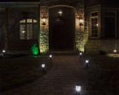 LED Landscape Path Lights - Mini Bollard - 2 Watt: Showing Lights Installed Along House Path- Natural White