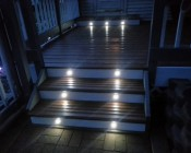 LED Step Lights - White 40mm Metal Trimmed Mini Round Deck / Step Accent Light - 1 Watt: Shown Installed In Customers Porch Step.