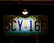 "1-1/2"" Round LED License Plate Light w/ 4 SMD LEDs w/ Chrome Housing: Installed on Trailer Shinning On License Plate"