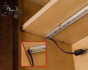 LED Linear Light Bar Fixture: Shown Installed In Cabinet With PIR Motion Sensor (Sold Separately LBFA-PIR)
