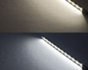 LED Linear Light Bar Fixture: On Showing Beam Pattern In Warm White (Top) And Cool White (Bottom)
