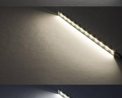 LED Linear Light Bar Fixture: On Showing Beam Pattern In Natural White (Top), Warm White (Center), And Cool White (Bottom).
