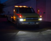 Rectangular H6545 LED Projector Headlights - LED Headlights Conversion - Sealed Beam: Low Beams Shown On Tow Truck