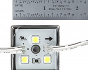 Single Color LED Module - Square Sign Module w/ 3 SMD LEDs: Front View With Ruler Measurement