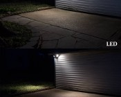 LED Motion Sensor Light - 2 Head Security Light - 24W: Shown Compared To Incandescent Equivalent