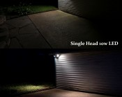 LED Motion Sensor Light - Single Head Security Light - 10W: Shown Compared To Dual 150W (Each) Incandescent Spot Light Fixture.