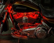 Motorcycle - Color Changing Weatherproof RGB LED Glow Strip Accent Lighting Kit: Detail Of Motorcycle Install.