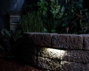 "LED Hardscape Light - 6""  Deck / Step and Landscape Retaining Wall Light with Mortar Mounting Plate: LED Shown Installed On Rock Retaining Wall"