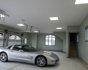 LED Panel Light Fixture - 40W, 2ft x 2ft: Shown On And Custom Installed  In Garage In Natural White.