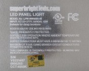 LED Panel Light Fixture - 40W, 2ft x 2ft: Close Up View Of Label