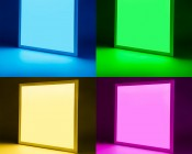 36W RGB LED Panel Light Fixture - 2ft x 2ft: On Showing Beam Pattern In Blue (Top Left), Green (Top Right), Yellow (Bottom Left), And Magenta (Bottom RIght).