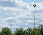 LED Parking Lot Light - 400W (1,400W HID Equivalent) Dimmable LED Shoebox Area Light - 5000K - 60,000 Lumens - Shown installed on light pole.