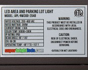 LED Parking Lot Light - 300W LED Shoebox Area Light - 700W HID Equivalent - Natural White 5000K - 200-480 VAC - 29,000 Lumens: Close Up View Showing Label