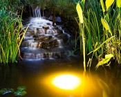 LED In Ground Well Light - 3 x 1W High Power LEDs installed in pond 3ft deep.