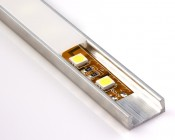 Aluminum Surface Mount LED Profile Housing MICRO-ALU Series with flexible light strip and standard frosted lens