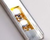 Aluminum Surface Mount LED Profile Housing MICRO-ALU Series with illuminated flexible light strip and standard frosted lens
