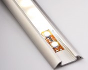 B4369ANODA aluminum profile housing with illuminated flexible LED light strip and standard frosted lens