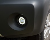 """3-1/2"""" LED Projector Fog Lights Conversion Kit w/ Halo Daytime Running Lights: Showing DRL Halo, Installed in 2015 Nissan Xterra"""