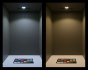 3 Watt LED Puck Light Fixture: On Showing Beam Pattern, Cool White (Left) And Warm White (Right).