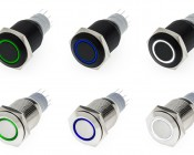 LED Indicator Push Button Switches available in Red, Green, Blue, White, and UV