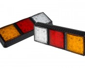 LED Rear Combination Lamps - Truck Stop/Turn/Tail/Reverse Lights w/ Removable Light Heads - Pigtail Connector: Push Back to Remove Lights