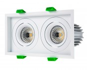 LED Recessed Light Engine - Dual Square 98mm Aimable Trim - 12 Watt COB LED