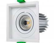 LED Recessed Light Engine - Square 98mm Aimable Trim - 12 Watt COB LED