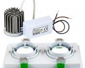 LED Recessed Light Engine - Dual Square 98mm Aimable Trim - 8 Watt COB LED: Back View