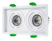 LED Recessed Light Engine - Dual Square 98mm Gimbal Trim - 8 Watt COB LED