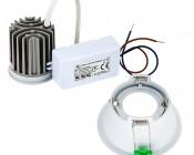 LED Recessed Light Engine - Round 90mm White Reflector - 8 Watt COB LED: Back View