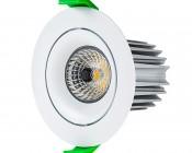 LED Recessed Light Engine - Round 90mm Aimable Ring - 12 Watt COB LED