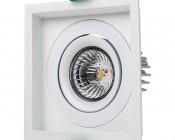 LED Recessed Light Engine - Square 98mm Gimbal Trim - 8 Watt COB LED