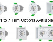 Modular Downlight Trim Options for RLFM series LED Recessed Light Engines 7 Options Available: Deep Round, Aimable Round, Aimable Round, Deep Square, Aimable Square, Aimable Sqaure, Double Square.