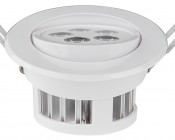 5 Watt LED Recessed Light Fixture - Aimable and Dimmable: Showing Aimable Feature.
