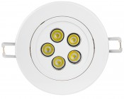 5 Watt LED Recessed Light Fixture - Aimable and Dimmable: Face View