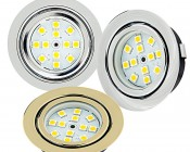 Recessed LED Puck Lights - 12 LED - 20 Watt Equivalent: Available in Chrome, Brushed Nickel, & Polished Brass