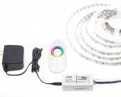 RGB+White Controller w/ RF Touch Color Remote with RGBW Light Strip (not included) and Compact Power Supply (not included)
