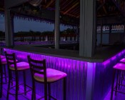 High Power RGB LED Weatherproof Flexible Light Strips - WFLS-RGB Attached Under Outside Bar