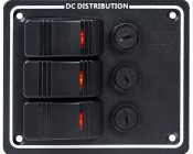 LED Rocker Switch Panels with Fuse - Weatherproof DC Distribution Switch Panel: Front View of LED Rocker Panel