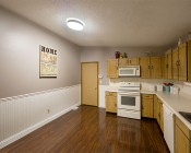 "15"" Flush Mount LED Ceiling Light w/ Brushed Nickel Housing - 150 Watt Equivalent - Dimmable: Installed in Kitchen"
