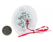 """3"""" Round Dome Light LED Fixture - 30 LEDs: Back View With Size Comparison"""