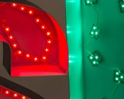 LSM-x3X3 series High Power LED Sign Module: Shown On, In Red, Inside Sign Lettering.