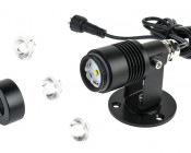 6 Watt LED Landscape Spot Light: Exploded View With Extra Lenses Shown On Sides.