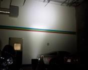 Illuminated light being shot across 20ft into corner
