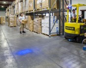 Blue LED Safety Light w/ Square Beam Pattern: Installed on Forklift in Warehouse