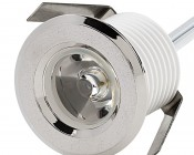 LED Mini Recessed Lights - 1 Watt - 1 LED Mini Round Recessed Accent Lights: Nickel Plate