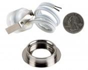 LED Step Lights - Brushed Nickel 40mm Metal Trimmed Mini Round Deck / Step Accent Light - 0.5 Watt